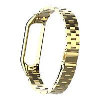 Pемешок для фитнес-браслета Mi Band 3 и 4, Steel bracelet with large link, Gold, фото 2