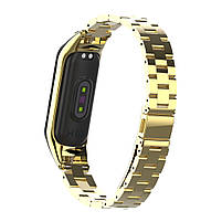 Pемешок для фитнес-браслета Mi Band 3 и 4, Steel bracelet with large link, Gold, фото 5