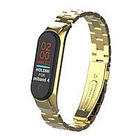 Pемешок для фитнес-браслета Mi Band 3 и 4, Steel bracelet with large link, Gold, фото 4