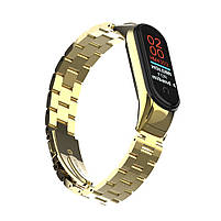 Pемешок для фитнес-браслета Mi Band 3 и 4, Steel bracelet with large link, Gold, фото 6