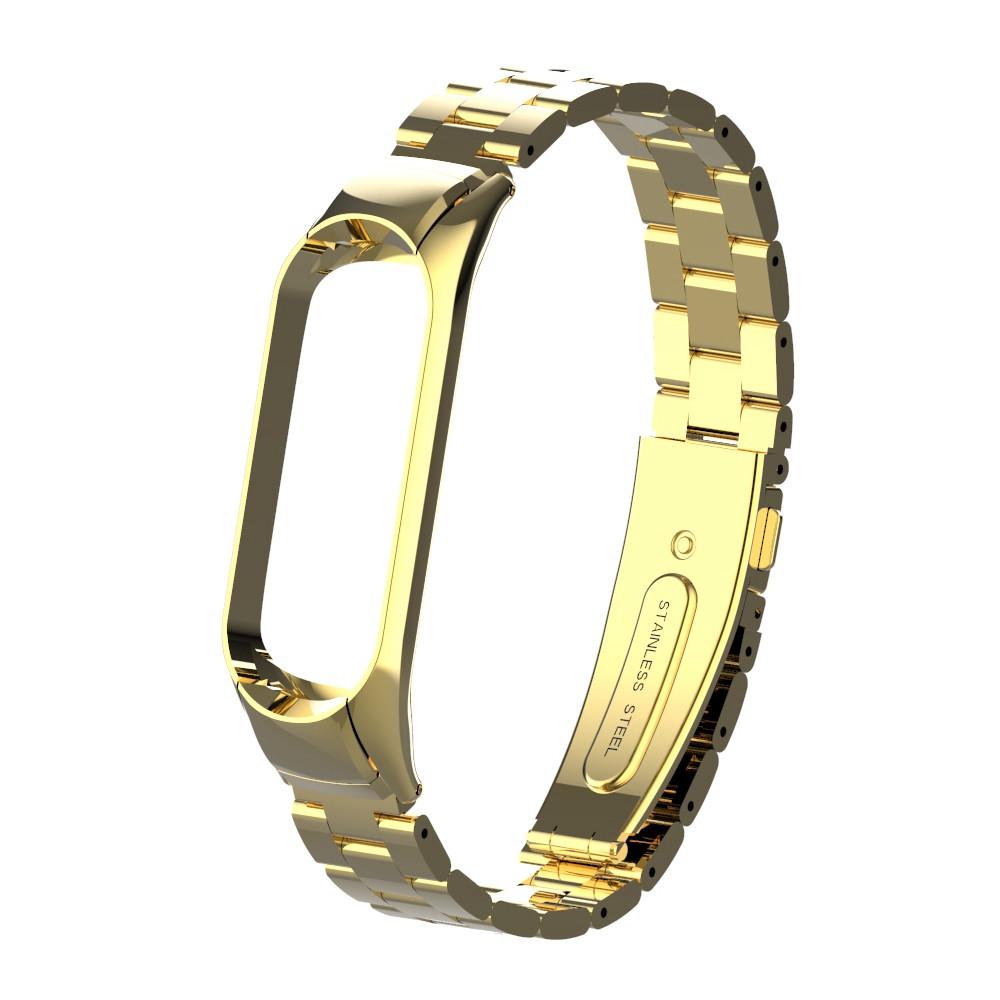 Pемешок для фитнес-браслета Mi Band 3 и 4, Steel bracelet with large link, Gold