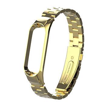 Pемешок для фитнес-браслета Mi Band 3 и 4 Bead design, Gold
