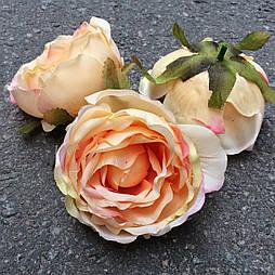 Головка пиона, пионовидной розы 8 см. персиковый с розовым