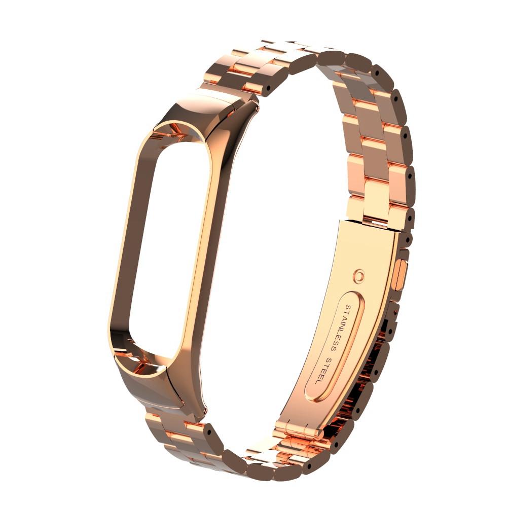 Pемешок для фитнес-браслета Mi Band 3 и 4, Steel bracelet with large link, Rose gold