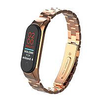 Pемешок для фитнес-браслета Mi Band 3 и 4, Steel bracelet with large link, Rose gold, фото 5