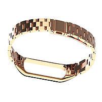 Pемешок для фитнес-браслета Mi Band 3 и 4, Steel bracelet with large link, Rose gold, фото 3