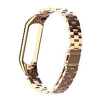 Pемешок для фитнес-браслета Mi Band 3 и 4, Steel bracelet with large link, Rose gold, фото 2