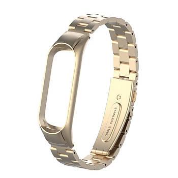 Pемешок для фитнес-браслета Mi Band 3 и 4 Bead design, Beige gold