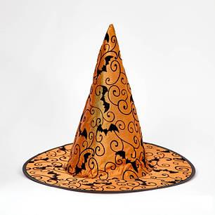 Колпак Ведьмы с летучими мышами оранжевый, фото 2