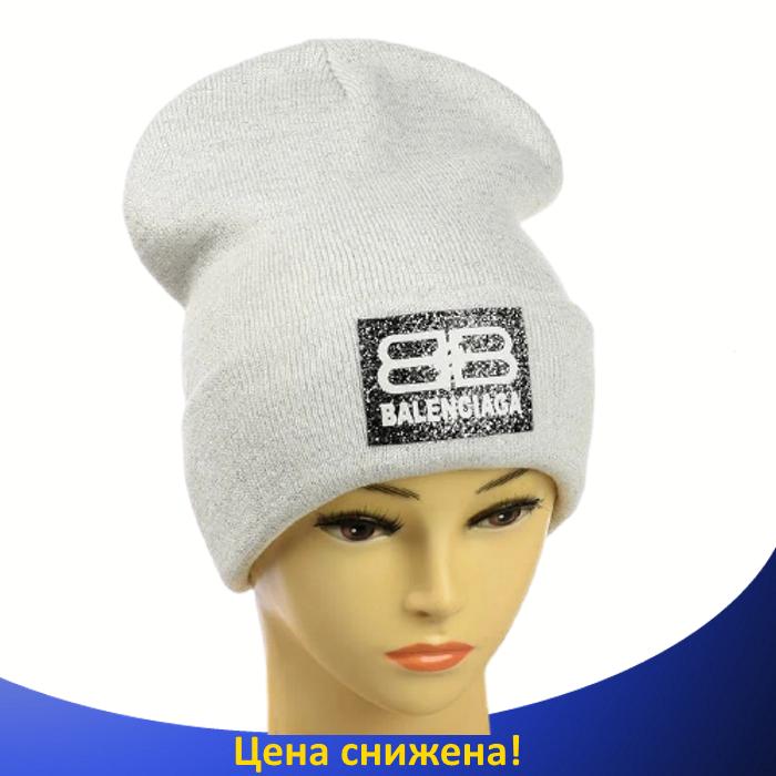 Женская шапка с люрексом Balenciaga Белая - Молодежная шапка-лопата с отворотом