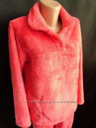 Тепла жіноча махрова піжама, домашній костюм, верх гудзики, р. М (44-46) корал