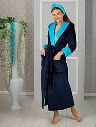 Махровый халат женский с повязкой на голову длинный размеры 42-44 46-48 50-52 много цветов