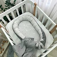 Гнездышко-кокон Baby Design Звезды на сером ТМ «Маленькая Соня»
