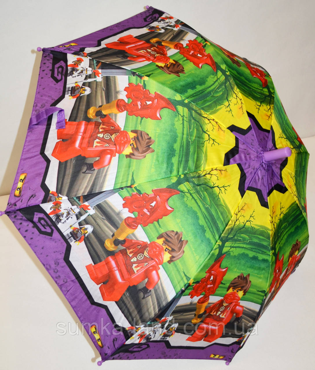 Детский зонт-трость для мальчиков Fiaba на 8 спиц, Ниндзяго