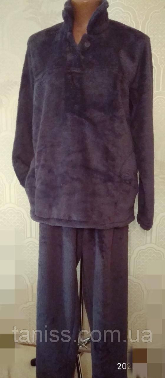 Теплая женская махровая пижама, домашний костюм, верх пуговицы, р.  4 хл - (56-58) серая