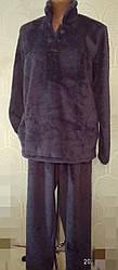 Тепла жіноча махрова піжама, домашній костюм, верх гудзики, р. 4 хл - (56-58) сіра