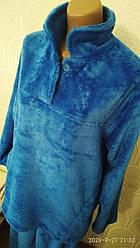 Тепла жіноча махрова піжама, домашній костюм, верх гудзики, р. ХЛ (46-48) синя