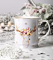 Чашка фарфоровая Новогодний олень 400 мл 924-448