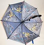 Детский синий зонт-трость для мальчиков Fiaba со свистком и на 8 спиц, Транспорт, фото 2