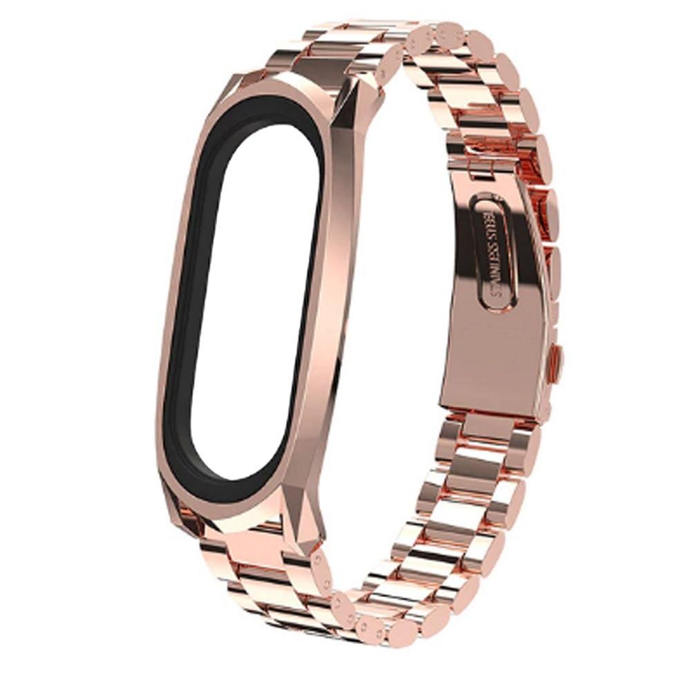 Pемешок для фитнес-браслета Mi Band 3 и 4, Steel bracelet with large link, Bronze