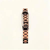 Pемешок для фитнес-браслета Mi Band 3 и 4, Steel bracelet with large link, Bronze, фото 6