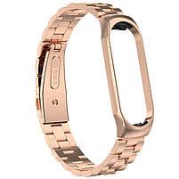 Pемешок для фитнес-браслета Mi Band 3 и 4, Steel bracelet with large link, Bronze, фото 3