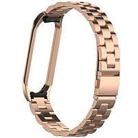 Pемешок для фитнес-браслета Mi Band 3 и 4, Steel bracelet with large link, Bronze, фото 2
