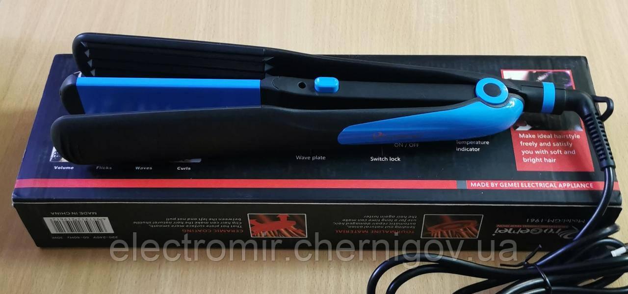 Утюжок для волос с гофре Geemy GM-1961 (синий)