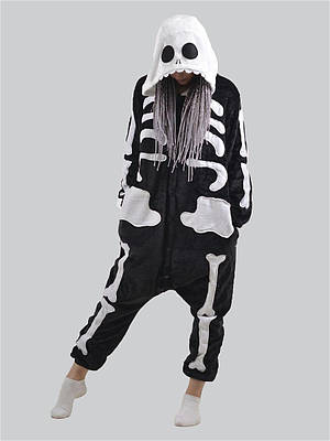 Пижама детская Кигуруми - Скелет - серия Premium Velsoft