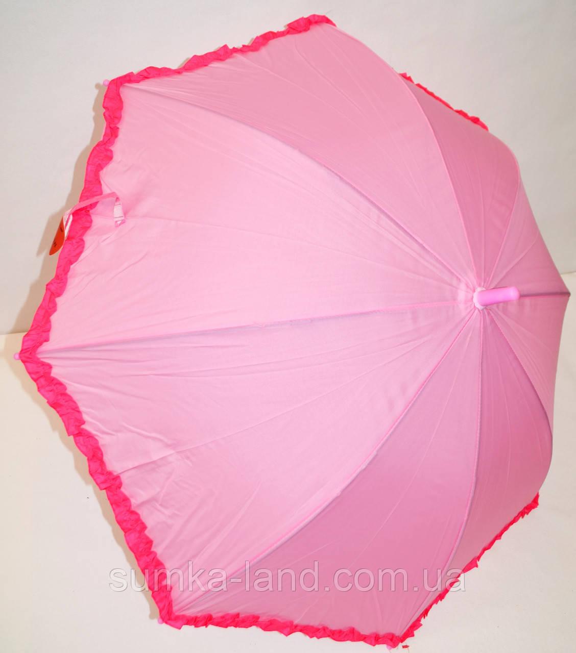 Детский розовый зонт-трость для девочек Star Rain с малиновыми оборками, на 8 спиц