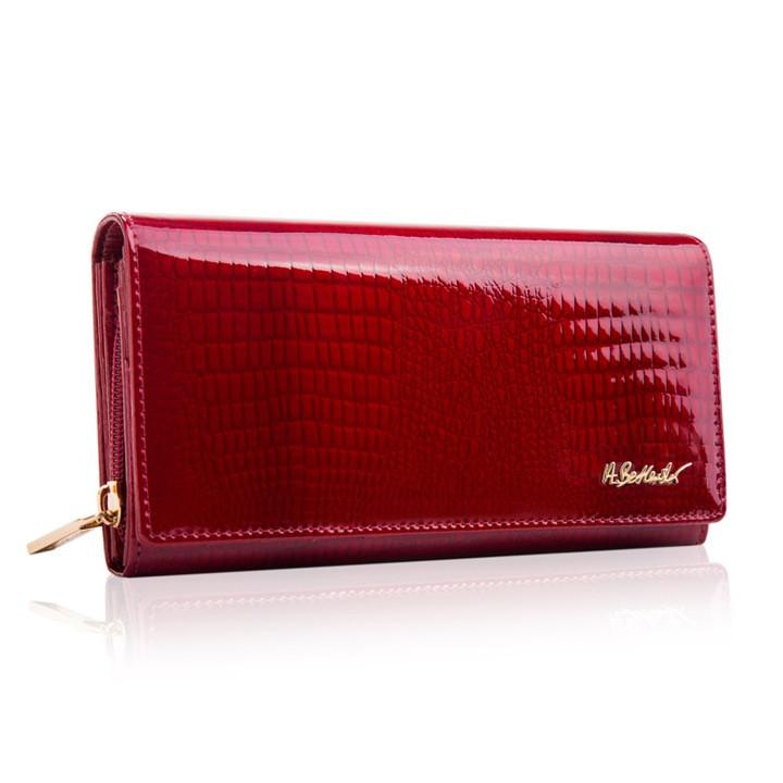 Жіночий шкіряний гаманець Betlewski з RFID 19,2 х 10 х 3,5 (BPD-CR-106) - червоний