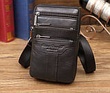 Сумка чоловіча через плече XD 9438 шкіряна для мобільного телефону колір чорний, фото 2