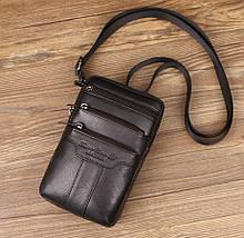 Сумка чоловіча через плече XD 9438 шкіряна для мобільного телефону колір чорний
