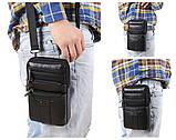 Сумка чоловіча через плече XD 9438 шкіряна для мобільного телефону колір чорний, фото 10