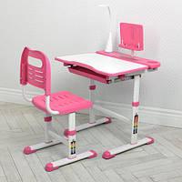 Парта детская M 4428-8 со стульчиком, регулируемая, подставка для книги, лампа, розовая