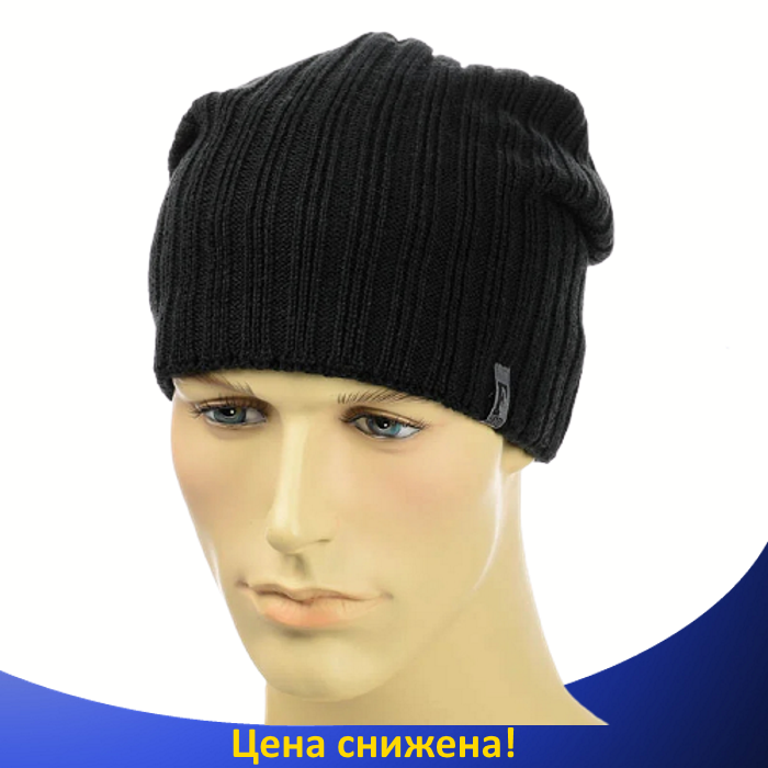 "Мужская шапка ""Flash"" на флисе Черная - Зимняя мужская шапка ""Бекхэма"", шапка чулок"