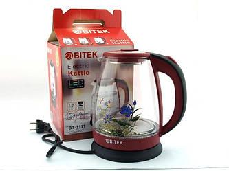 Электрический чайник с подсветкой BITEK 1.8 л стекло