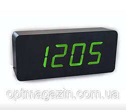 Настільні електронні годинник VST-865 з будильником, датою, термометром, гігрометром у формі дерев'яного бруск