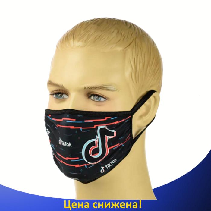 """Детская маска аниме """"Tik-Tok"""" - многоразовая защитная маска на лицо двухслойная"""