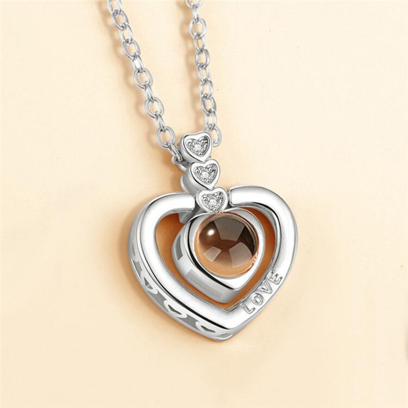 Жіночий сріблястий ланцюжок з кулоном у формі серця код 1955
