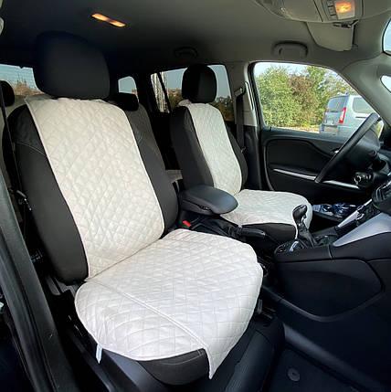 Накидки чехлы на сидения автомобиля из Алькантары Эко-замша два универсальные защитные авточехлы Айвори 2 шт, фото 2