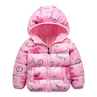 Демисезонная куртка детская с капюшоном для девочки, теплая розовая Размер 90