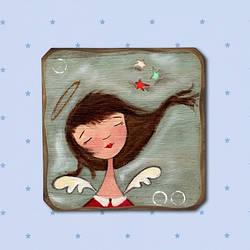 """Деревянная картинка """"Очаровательный ангел"""" замечательный подарок"""