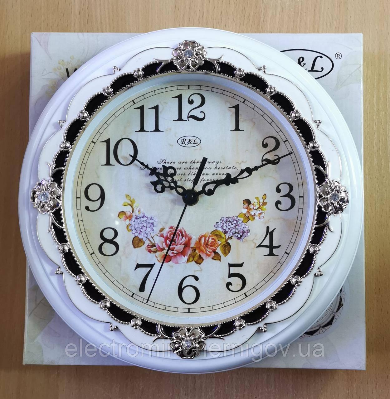 Часы настенные R&L 8002 30 см диаметр (белые)
