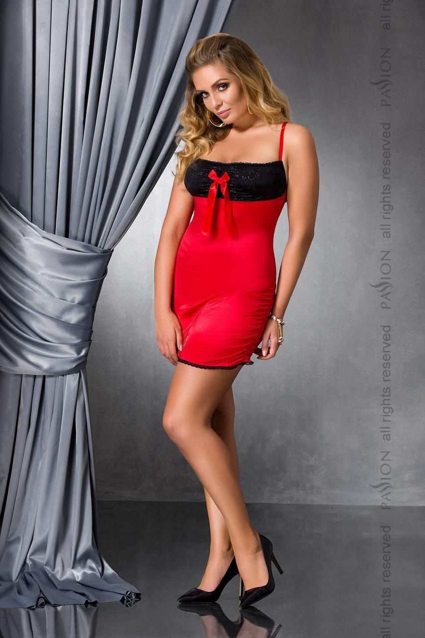 Сорочка приталені з відкритою спиною LENA CHEMISE red 6XL/7XL - Passion, трусики