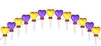Арка из разноцветных фольгированных сердец.