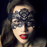 Женская карнавальная маска на глаза чёрный ( 190 001 )