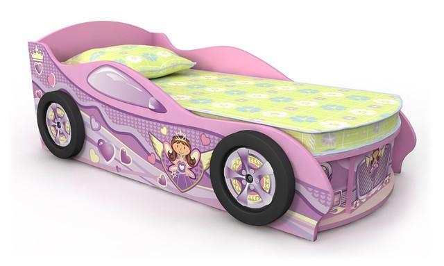 Кровать-машинка для девочки Pn-11-70