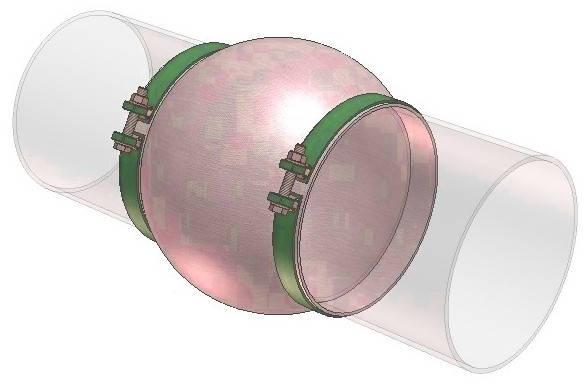 Тканевый компенсатор тип КТ 1,02 ленточный с волной, фото 2