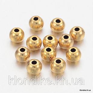 Бусины-Разделители, Рондель, Сплав, 4×3.5 мм, Цвет: Золото (50 шт.)